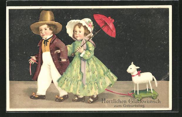 AK Glückwunsch zum Geburtstag, Junge und Mädchen mit Spielzeug