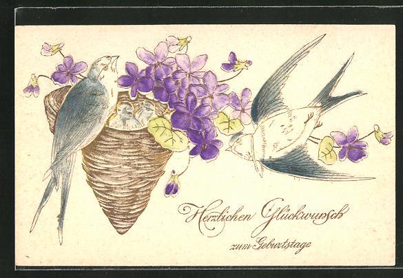 Präge-AK Geburtstagsgruss, Schwalben am Nest mit lila Blumen