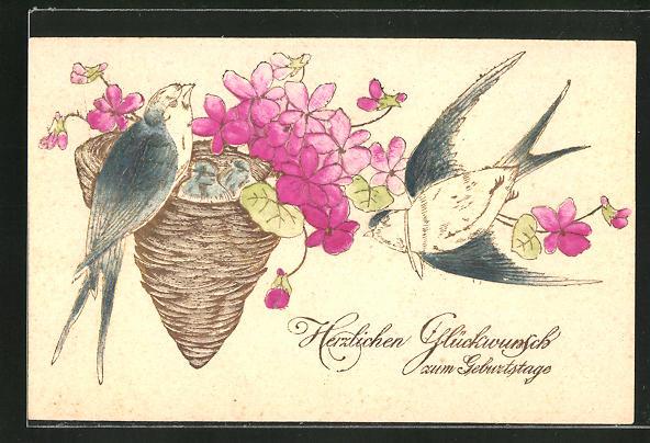 Präge-AK Geburtstagsgruss, Schwalben am Nest mit roten Blumen