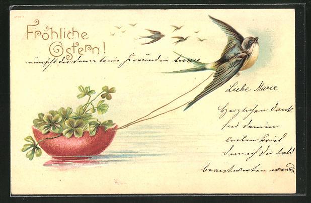 Präge-AK Fröhliche Ostern, Schwalbe zieht ein Behältnis mit Klee im Wasser