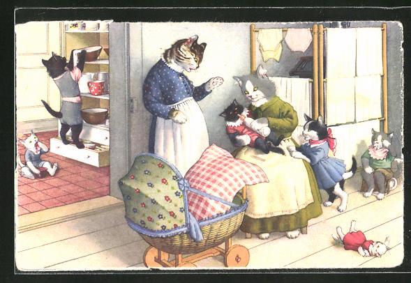 AK vermenschlichte Tiere, Katzen als Familie mit Kinderwagen