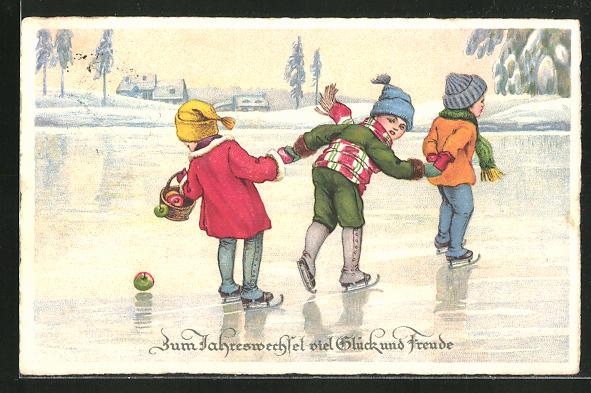 AK Kinder beim Schlittschuh laufen auf dem zugefrorenen See,