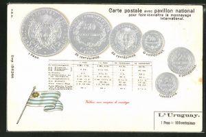 Präge-AK Münzen aus Uruguay, Umrechnungstabelle und Fahne