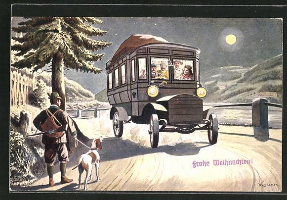 AK Autobus der K. K. Automobilpost bei Mondschein unterwegs, Jäger mit Hund,