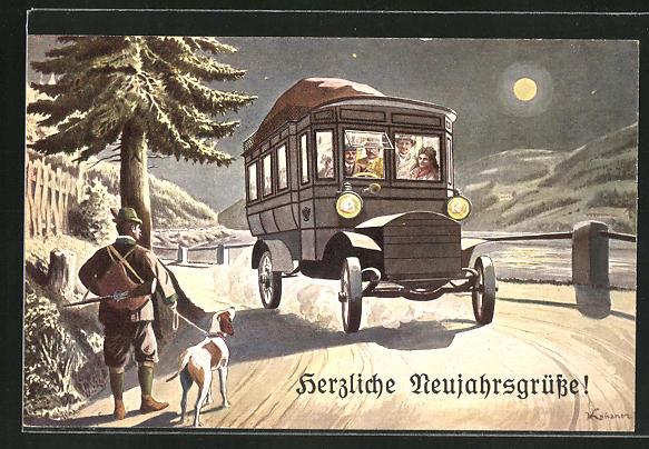 AK Autobus der K. K. Automobilpost unterwegs, Jäger mit Hund am Wegesrand,