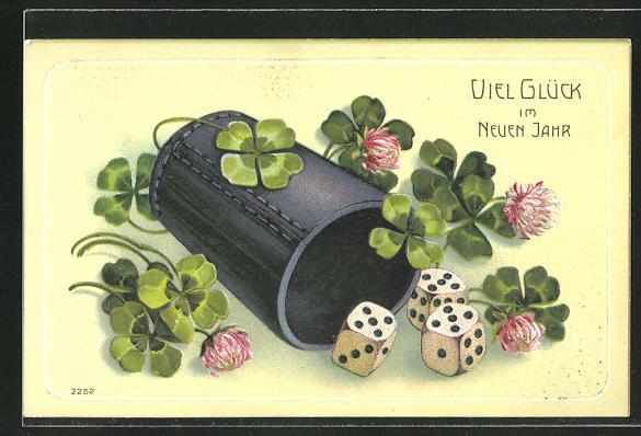 Präge-Lithographie Würfelbecher mit Würfel und Glücksklee,