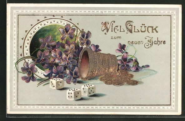 Präge-Lithographie Würfelbecher mit Würfeln und lila Blüten,