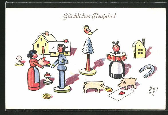 AK Dorfszene mit Glücksschwein und Hufeisen, Holzspielzeug,