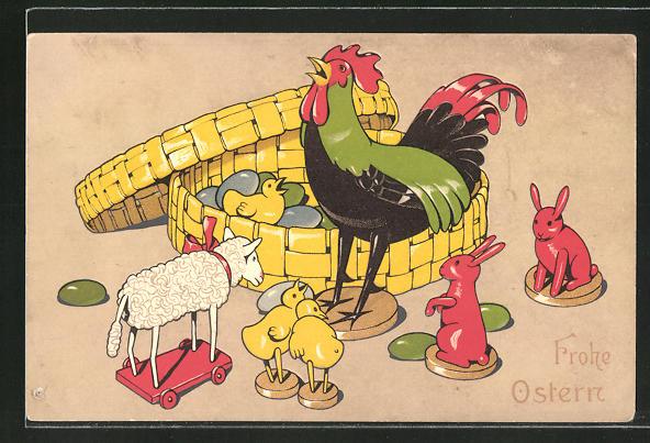 AK Hahn mit Küken, Schaf und Hasen vor einem Korb mit Ostereiern, Holzspielzeug,