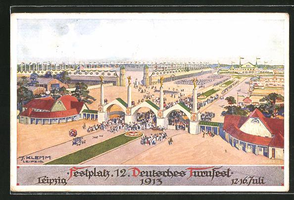 AK Leipzig, 12. Deutsches Turnfest 1913, Blick auf das Festgelände