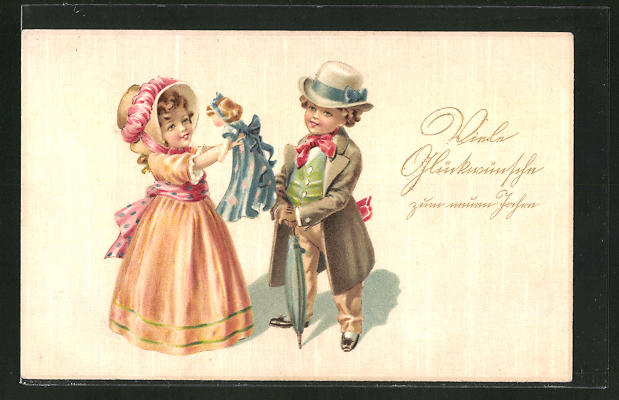 Lithographie Kinderpaar mit Puppe,