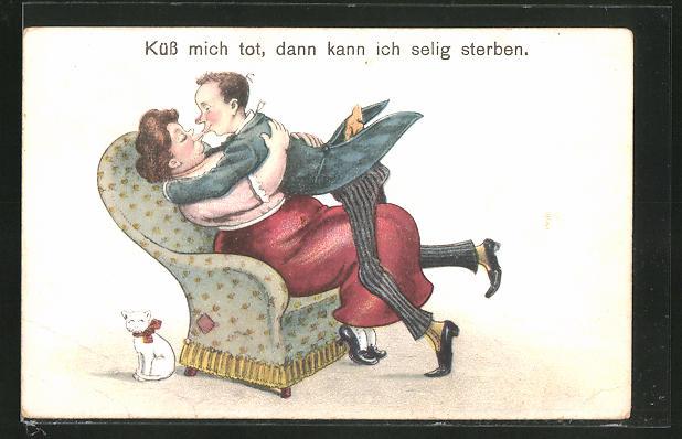 AK Paar beim innigen Kuss, Erotikhumor