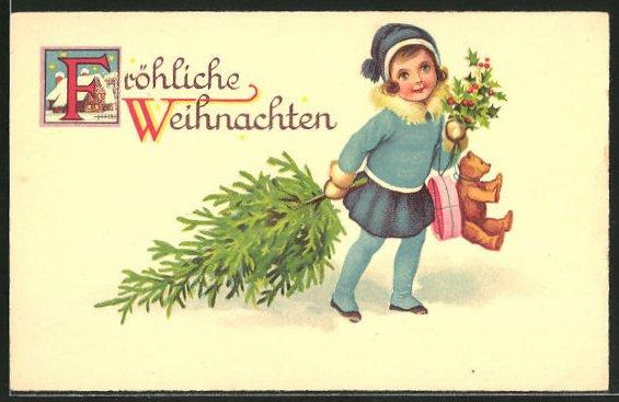 Lithographie Mädchen mit Teddy und Weihnachtsbaum,