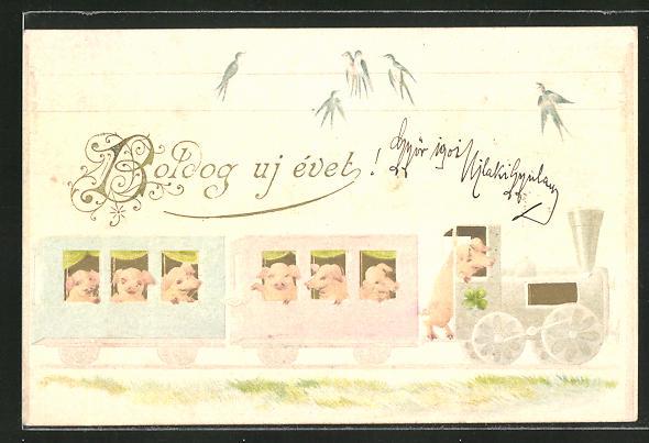 Lithographie Boldog uj évet, Schweine in Eisenbahn