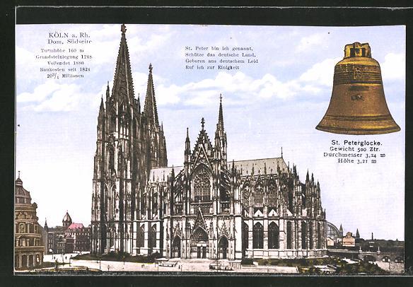 AK Köln, Dom, Südseite, St. Peterglocke