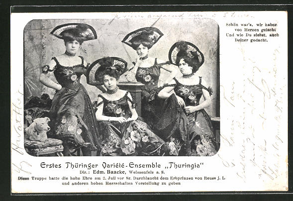 AK Erstes Thüringer Varieté-Ensemble Thuringia, Dir. Edm. Baacke