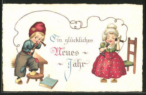 AK Ein glückliches Neues Jahr, kleines Paar am Telefon