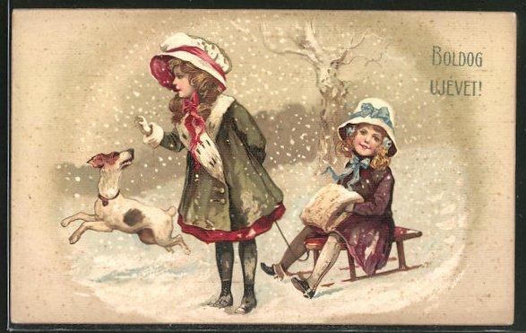 AK Boldog Ujévet!, Mädchen mit Schlitten und Hund