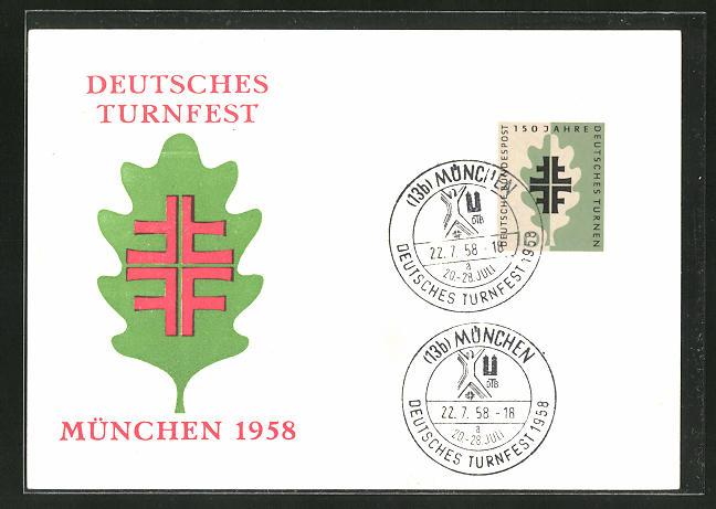 AK München, Deutsches Turnfest 1958, Eichenlaub