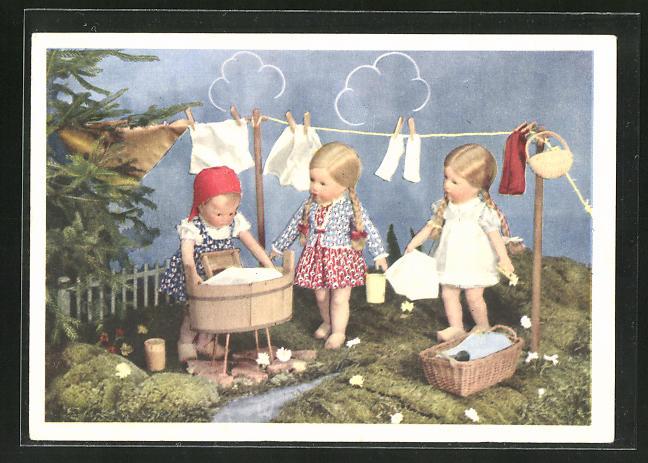 AK Käthe Kruse-Puppe, Wäscherinnen