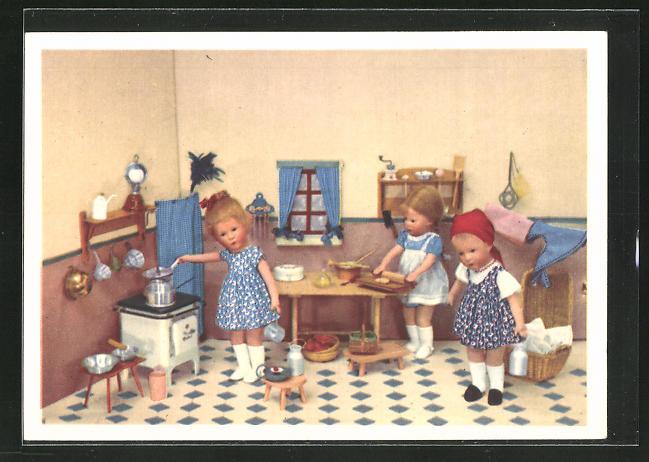 AK Käthe Kruse-Puppe, Mädchen in Küche
