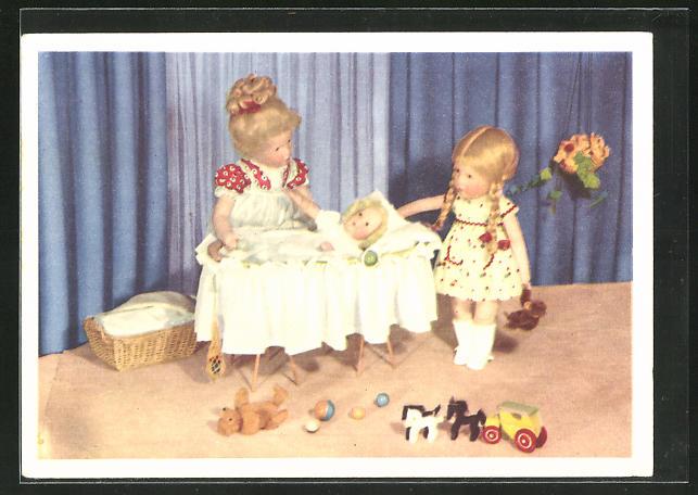 AK Käthe Kruse-Puppe, Baby in Wiege