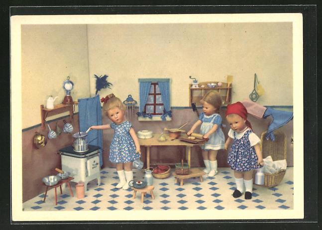 AK Käthe Kruse-Puppe, Köchin, Dienstmädchen, Küche