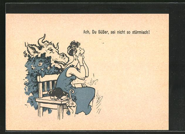AK Saalpost, Ach, Du Süsser, sei nicht so stürmisch!, Scherz, Kuh leckt Dame den Nacken