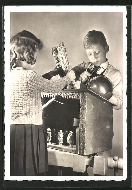 AK Kinder bauen Krippenspiel, Weihnachten