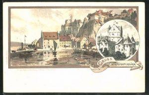 Künstler-AK Karl Mutter: Meersburg, Ortspartie am See