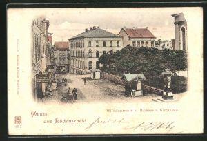 AK Lüdenscheid, Wilhelmstrasse m. Rathaus, Kirchplatz & Wettersäule