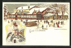Winter-Lithographie Duisburg, Gasthaus aus der Monning, Denkmal Kaiser Wilhelm I. auf dem Kaiserberg