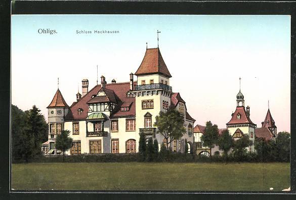 Goldfenster-AK Ohligs, Schloss Hackhausen mit leuchtenden Fenstern