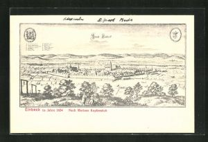 AK Einbeck, Ansicht im Jahre 1654, nach einem Kupferstich von Merian