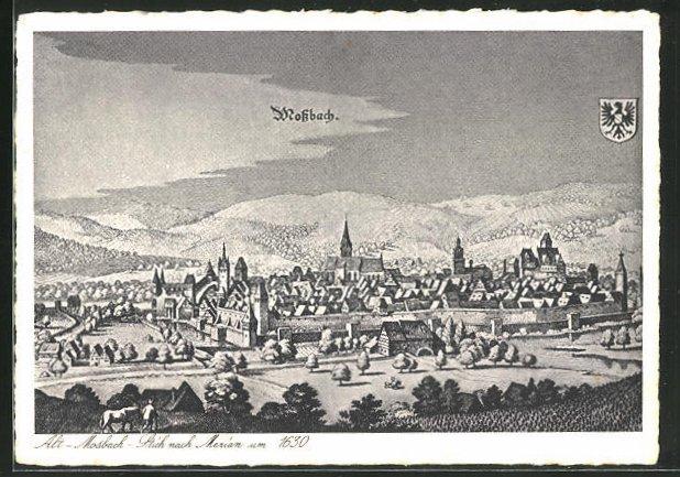 AK Alt-Mossbach, Stich nach Merian um 1630