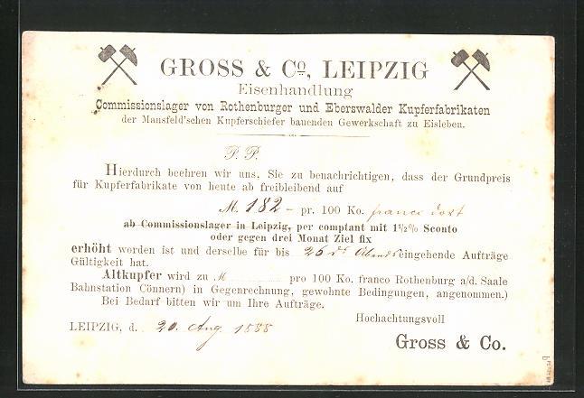 AK Leipzig, Gross & Co., Eisenhandlung, Commissionslager von Rothenburger & Eberswalder Kupferfabrikanten, Bergbau