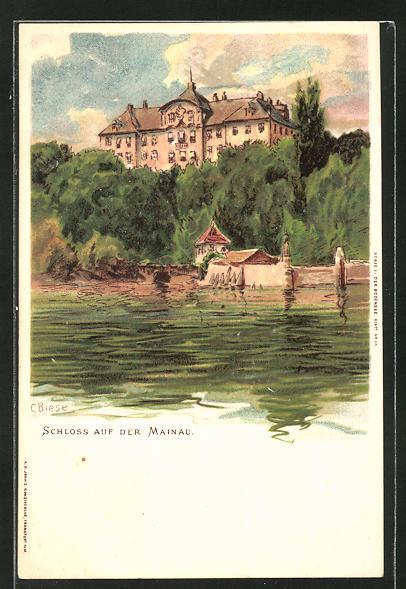 Künstler-AK Carl Biese: Mainau, Blick vom Wasser auf das Schloss