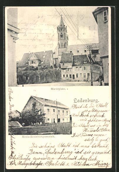 AK Ladenburg, Marktplatz und Kreis-Erziehungsanstalt, Gefängnis