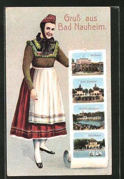 AK Bad Nauheim, Frau in Tracht zeigt Kurhaus, Teichhaus und Trinkkuranlagen