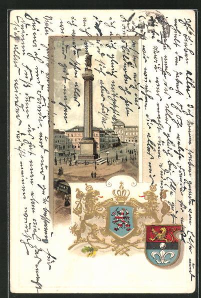 Passepartout-Lithographie Darmstadt, Blick zur Ludwigsäule und Wappen