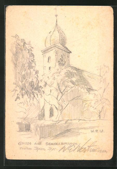 Künstler-AK Handgemalt: Schollbrunn, Partie an der Kirche