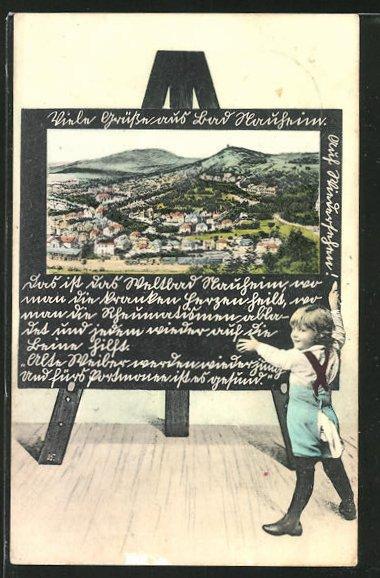 Schultafel-AK Bad Nauheim, Ortsansicht aus der Vogelschau