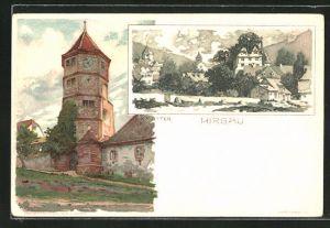 Künstler-AK Karl Mutter: Hirsau, Ortspartie und Turm