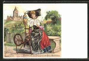 Lithographie Porta Westfalica, Frau in Tracht Schaumburg-Lippe mit Spinnrad