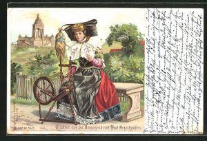Lithographie Bad Oeynhausen, Frau in Tracht Schaumburg-Lippe mit Spinnrad