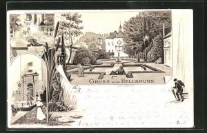 Lithographie Hellbrunn, Marmorbassins, Neptungrotte, Ortspartie