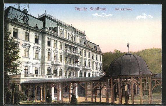 AK Teplitz Schönau / Teplice, Partie am Kaiserbad