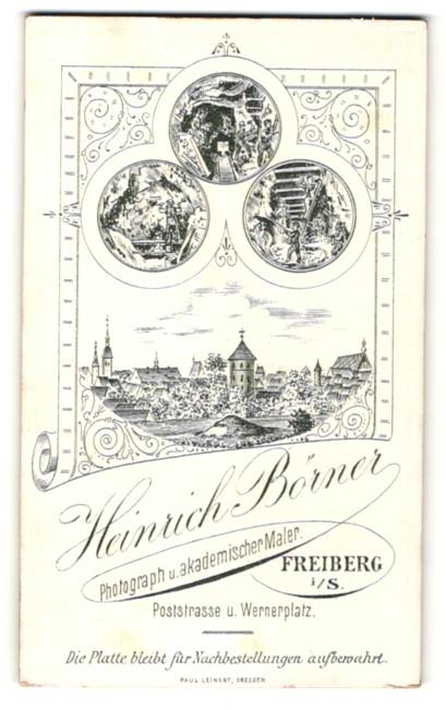 Fotografie Heinrich Börner, Freiberg i. S., Ansicht Freiberg i. S., Ortsansicht & Szenen im Bergbau