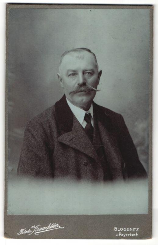 Fotografie Friedr. Kranzfelder, Gloggnitz & Payerbach, Portrait Herr mit Schnauzbart