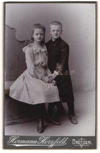 Fotografie Hermann Herzfeld, Dresden, Portrait Knabe und Mädchen, Geschwister